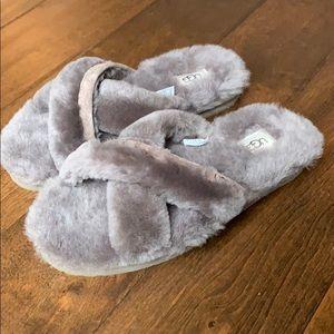 NIB Slate Fuzzy Abela Slipper Slides